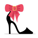 Womens Shoe with High Stiletto Heel and Bow Vector Stock Photos