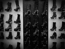 Womens shoe shoes leather metal fashion design. Womens shoe shoes leather metal fashion Royalty Free Stock Photos