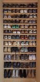 Womens shoes, fashion and dress in shelving racks. Royalty Free Stock Photo