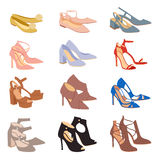 Womens shoes flat fashion footwear design vector. Royalty Free Stock Photos
