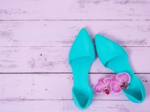 Womens shoes flat sandals on wooden background. Spring summer collection. Flat lay. Fashion concept. Template for online store. Coupon, offer, promotion royalty free stock images