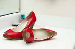 Womens shoes. Pair of womens high heel dress shoes royalty free stock photo