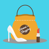 Womens shopping concept vector illustration with fashion shoes, bag and lipstick Stock Photo