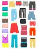 Womens shorts. Set of female summer shorts, breeches and capri Stock Photos