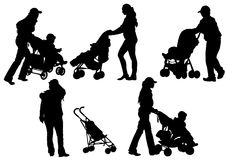 Womens and sidecar. Drawing mother with children. Silhouettes on a white background Stock Photo
