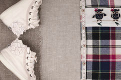 Womens sneakers and plaid shirt with lace insertion.  Trendy lac Stock Photos