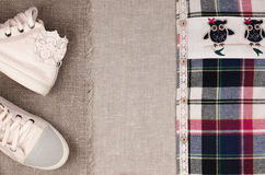 Womens sneakers and plaid shirt with  lace insertion. Trendy lac Royalty Free Stock Images