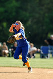 Womens softball celebration. GLOUCESTER, NJ - MAY 25: The Pennsville High School shortstop celbrates after the last out in the NJSIAA softball playoffs May 25 royalty free stock photography