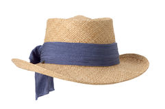 Womens straw hat. With blue scarf on white background Stock Photo
