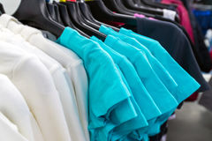 Womens T-shirt on hanger in the store Stock Image