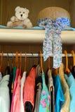 Womens wardrobe Summer clothing Teddy bear Royalty Free Stock Photography