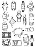 Womens watches. Set of silhouettes of womens watches Royalty Free Stock Photo