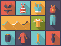 Womens wear flat design vector illustration. Stock Photos