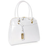 Womens white leather bag isolated on white Stock Photography