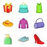 Womenswear icons set, cartoon style. Womenswear icons set. Cartoon set of 9 womenswear vector icons for web isolated on white background Stock Image