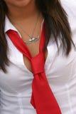 Woment con il legame rosso Fotografia Stock