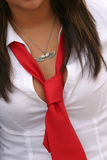 Woment with red tie. A business wearing red tie Stock Photo