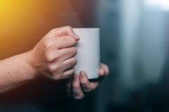 Womn drinking morning coffee Royalty Free Stock Images