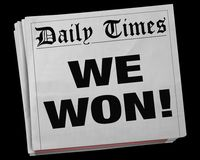 We Won Big Winner Game Victory Champion Newspaper Headline 3d Il. Lustration Royalty Free Stock Image