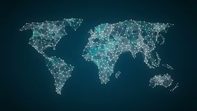 Won currency sign makes global world map, internet of things. financial technology.1. Currency sign makes global world map, internet of things stock video footage