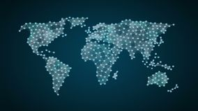 Won currency sign makes global world map, internet of things. financial technology.1. Won currency sign makes global world map, internet of things. financial stock video footage