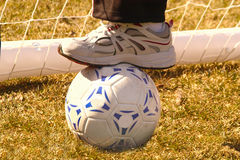 We won the game. Stepping on soccer ball after playing royalty free stock image