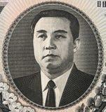 Won het Kim Il gezongen portret op het Noorden Koreaan 1000 het bankbiljetcl van 2006 Stock Fotografie