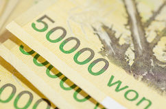 50000 won Korea money Stock Photos