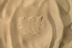 Won Symbol Under the Sand royalty free stock photos