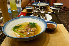 Won ton soup. With pork ribs and bok choy Stock Images