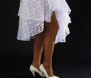 Wonams legs in white dress 2 Stock Image