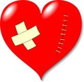 Wond op hart van liefde. Stock Afbeelding