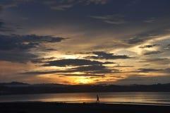 Wondama beach sunset 3. Wondama sea sunset with mountains as a backdrop. (papua barat, indonesia Royalty Free Stock Photo