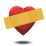 Wonded Heart with Bandage Royalty Free Stock Photography