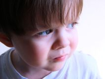 Wonder. Baby boy staring or day dreaming Royalty Free Stock Photography