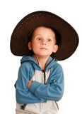 Wonder baby in a hat. On a white background Royalty Free Stock Photos