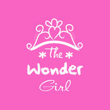 The wonder girl. Hand drawn lettering phrase for fashion quote design, t-shirt print vector illustration