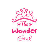 The wonder girl. Hand drawn lettering phrase for fashion quote design, t-shirt print stock illustration