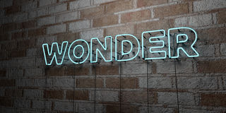 WONDER - Glowing Neon Sign on stonework wall - 3D rendered royalty free stock illustration Royalty Free Stock Photo