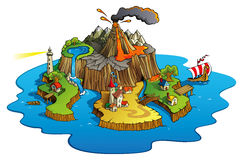 Wonder island. Fairy tale landscape, wonder island with town and villages, cartoon vector illustration vector illustration