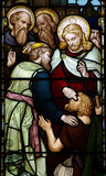 Wonder of Jesus: curing a blind man. A stained glass photo of a Wonder of Jesus: curing a blind man Royalty Free Stock Images
