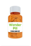 Wonder Pill concept. Render illustration of Wonder Pill Title on pill bottle, isolated on white Royalty Free Stock Photography