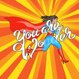 Wonder runing woman. You are Wonder - hand lettering. Runing Woman. Female Hero. Girl in Superhero Costume. Pin Up Comic Style. Pop art vector illustration vector illustration