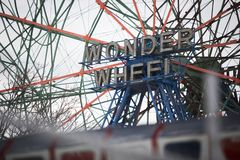 Wonder wheel at Coney Island stock photos
