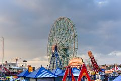 Wonder Wheel - Coney Island. New York City - December 10, 2017: Wonder Wheel in Luna Park. Its an amusement park in Coney Island opened on May 29, 2010 at the Royalty Free Stock Photography