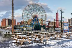 Wonder Wheel - Coney Island. New York City - December 10, 2017: Wonder Wheel in Luna Park. Its an amusement park in Coney Island opened on May 29, 2010 at the Stock Image