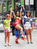 Wonder Woman. Posing for photos with fans at New York's Times Square and expect tips stock photo