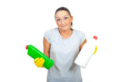 Wonder woman holding detergents Stock Photography