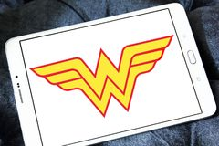 Wonder Woman logo. Logo of Wonder Woman on samsung tablet. Wonder Woman is a fictional superhero appearing in American comic books published by DC Comics royalty free stock photo