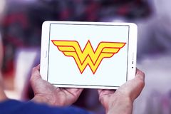 Wonder Woman logo. Logo of Wonder Woman on samsung tablet. Wonder Woman is a fictional superhero appearing in American comic books published by DC Comics stock images